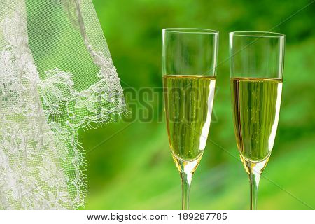 Wedding celebration concept: two flutes of sparkling champagne and a wedding veil against green background