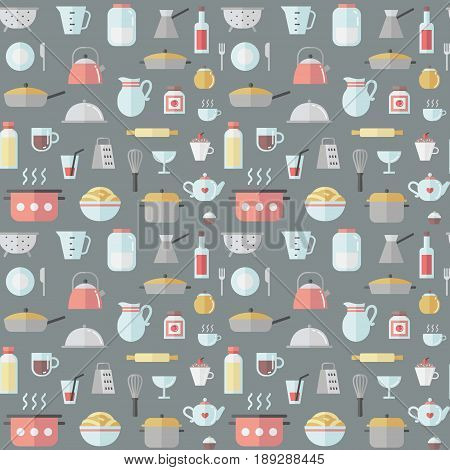 Crockery and cooking cute flat seamless vector pattern.