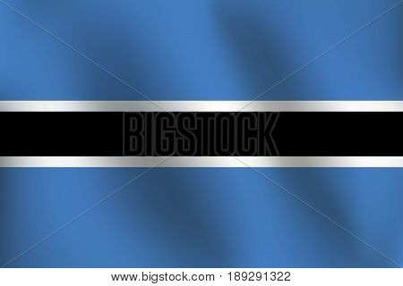 Flag of Botswana with a little Waving, Shading & Flag Colors separated layers - Vector Illustration