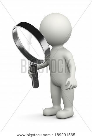 White 3D Character with Magnifier Illustration on White Background Searching for Concept