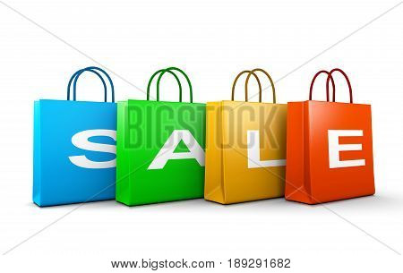 Sale Text Word On Shopping Bags