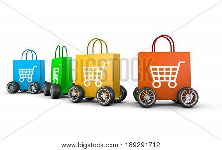Raw Of Shopping Bags With Cart Symbol And Wheels