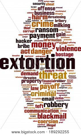 Extortion word cloud concept. Vector illustration on white
