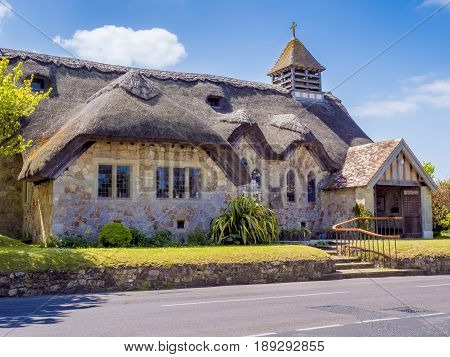 An english cottage church in the countryside on the Isle Of Wight England UK.