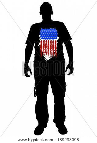 Soldier in uniform with american flag