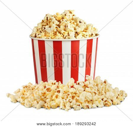 Popcorn in box with pill isolated on white clipping path