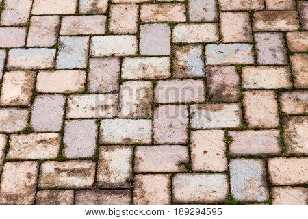 aged patterned red brick patio after a rain brings out the color of this rustic background or example of weather deterioration on brick