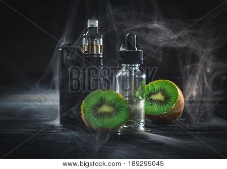 Black Vaporizer In The Smoke With Sliced Kiwi