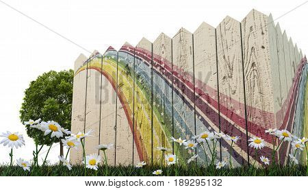 3d illustration of a wooden fence on green grass