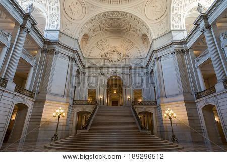San Francisco, California, USA - June 1, 2017: San Francisco City Hall. The Rotunda Facing the Grand Staircase and the Tennessee Pink Marble