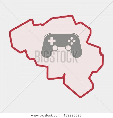 Isolated Belgium Map With  A Game Pad