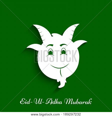 illustration of face of goat with Eid Ul Adha Mubarak text