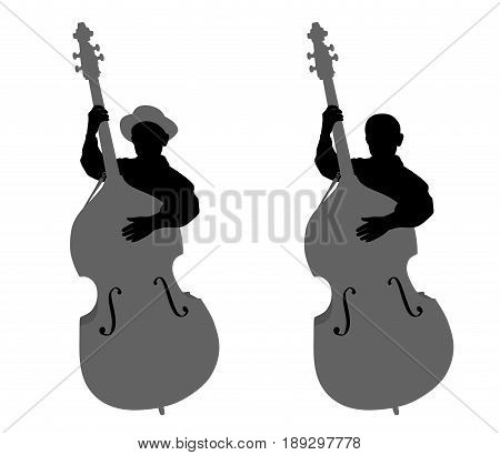 Boy contrabassist. Isolated white background. EPS file available.