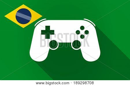 Long Shadow Brazil Map With  A Game Pad