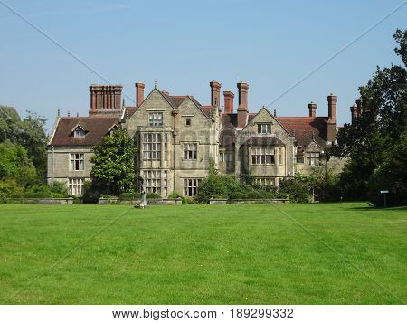 The front view of the Borde Hill House in West Sussex, England. The United Kingdom.