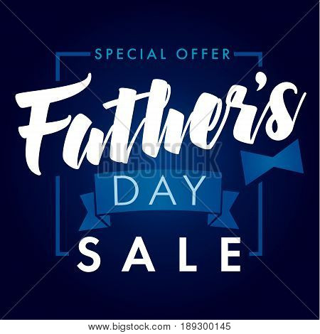 Father Day special offer SALE banner navy blue. Special offer Father`s Day sale promotion vector design
