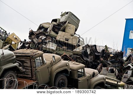 Pile of broken Russian military cars for scrap metal