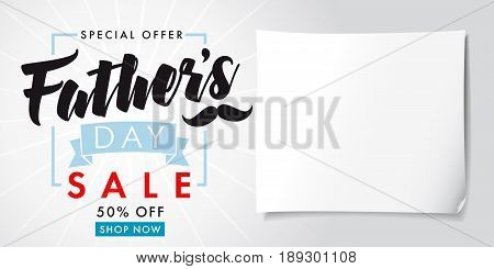 Father`s Day special offer SALE banner light. Special offer Fathers Day sale promotion 50% off, vector design
