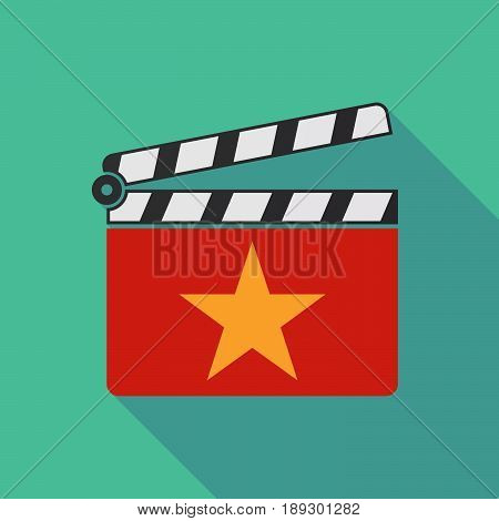 Long Shadow Clapper Board With  The Red Star Of Communism Icon