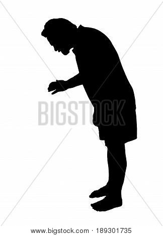 Full Length Side Profile Portrait Silhouette Of A Man Looking Down