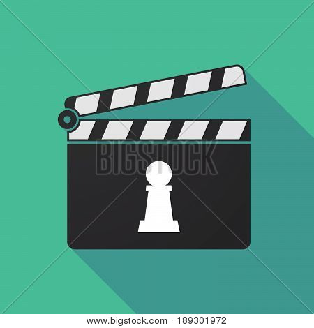 Long Shadow Clapper Board With A  Pawn Chess Figure