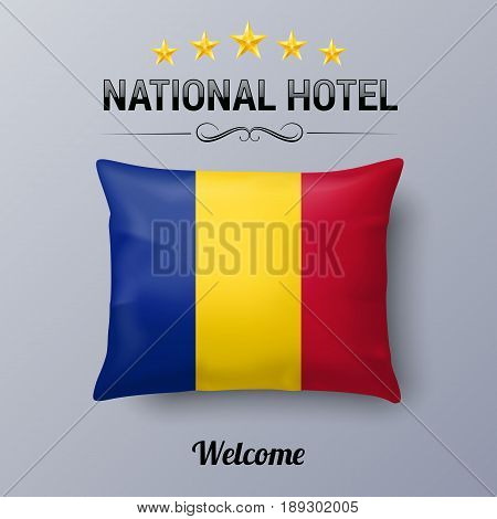 Realistic Pillow and Flag of Romania as Symbol National Hotel. Flag Pillow Cover with Romanian flag