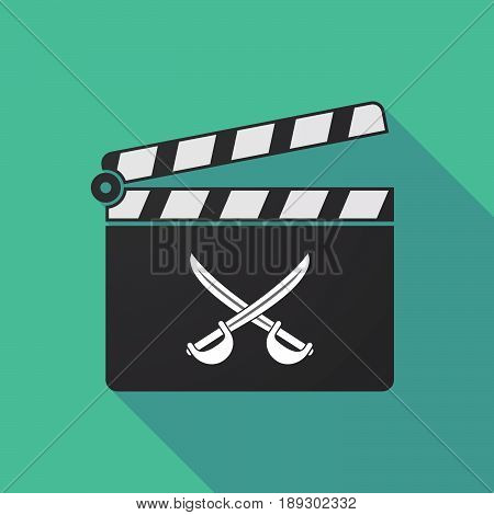 Long Shadow Clapper Board With  Two Swords Crossed