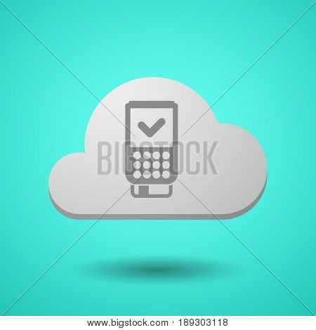 Vectorial Cloud With  A Dataphone Icon