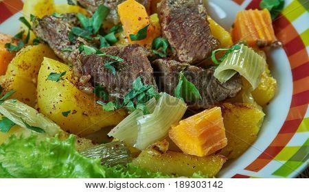 Bonava Mauritanian lamb and potatoes stew.Mauritanian cuisine