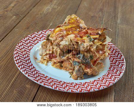 Classic Turkey Lasagna. Italian Cuisine. close up