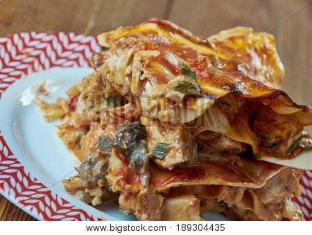 Classic Turkey Lasagna. talian Cuisine. close up