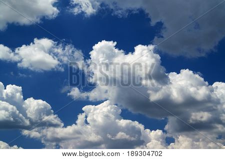 Blue sky with sunlight clouds. Cloudscape background.