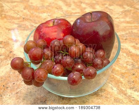HDR Apples & Grapes in a glass bowl