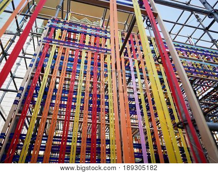 Selective Part of Stage Structure with Colorful Fabric