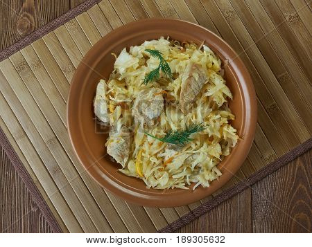 Estonian Mulgikapsas - Sauerkraut with Pork close up