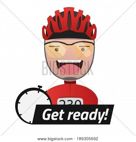 Head of the male cyclist. Title Get ready. Editable eps10 Vector. Transparent background.