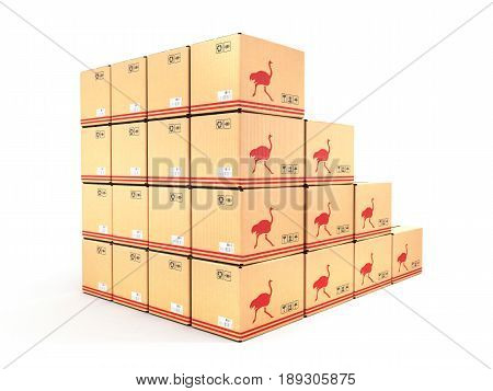 Cardboard Boxes Isolated On White Background 3D