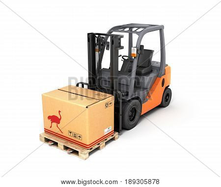 Forklift Truck With Box On Pallet 3D