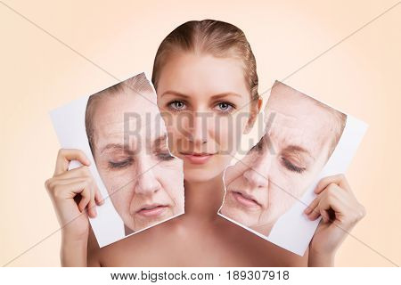 before and after portrait of caucasian woman face