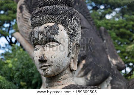 November 23 2016 Vientiane Laos Religious statues at Wat Xieng Khuan Buddha park.