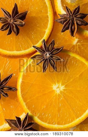 Orange and anise star half of orange orange lobule