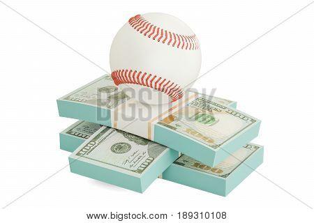 Money and baseball ball. Online sport bets. 3D rendering
