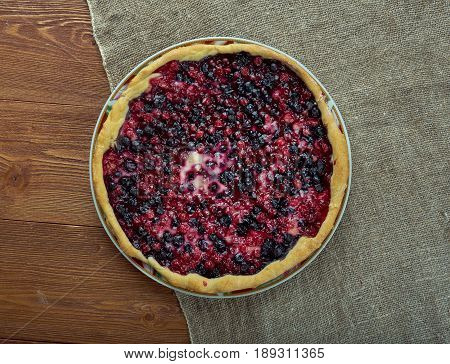 blueberries and cow berry tart. close up