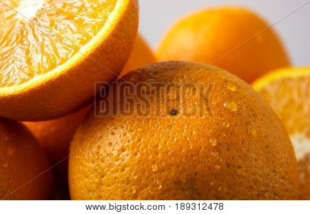 Orange fruit. Orange slices half orange whole orange white background