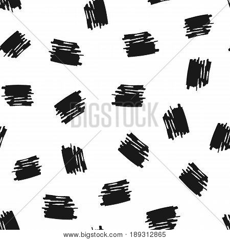 Scribbles drawn by hand with a brush. Seamless pattern. Grunge sketch. Vector illustration. Black white.