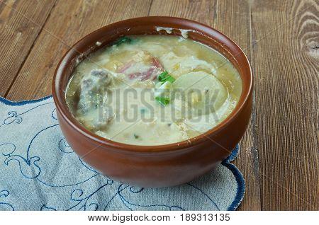Shjupinis Lithuanian dish of peas. Baltic cuisine.