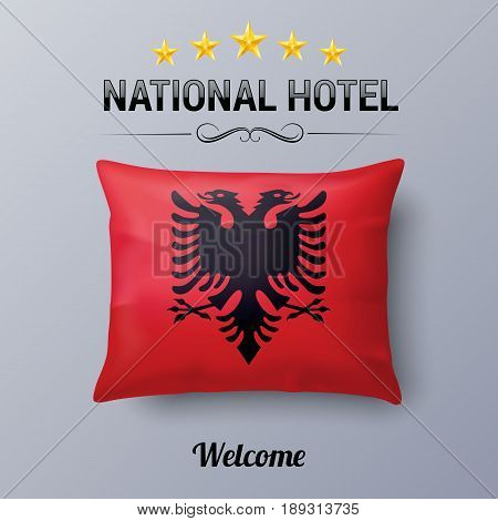 Realistic Pillow and Flag of Albania as Symbol National Hotel. Flag Pillow Cover with Albanian flag