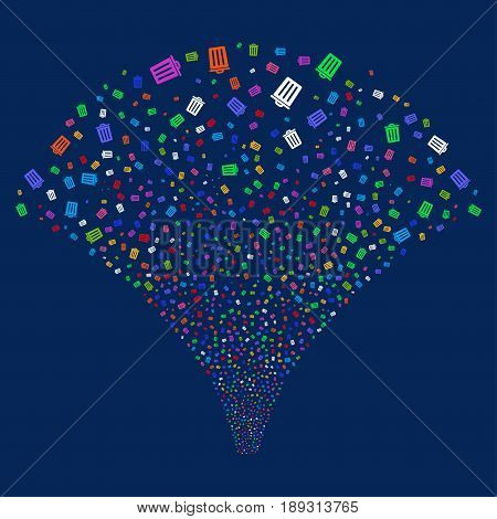 Dustbin salute stream. Vector illustration style is flat bright multicolored iconic symbols on a blue background. Object fireworks fountain made from random icons.