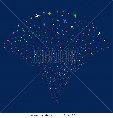 Electric Bolt salute stream. Vector illustration style is flat bright multicolored iconic symbols on a blue background. Object source fountain combined from random icons.