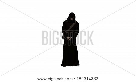 3D illustration of man wanderer in the black poor monk robe with his arms crossed and a go bag isolated on white background